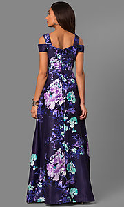 Image of long purple print formal prom dress with pockets. Style: SG-SBGX882 Detail Image 1