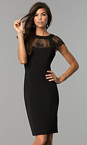 Image of little-black knee-length party dress with cap sleeves. Style: SG-DBBY1138 Front Image