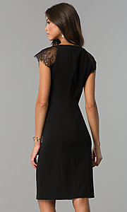 Image of little-black knee-length party dress with cap sleeves. Style: SG-DBBY1138 Back Image