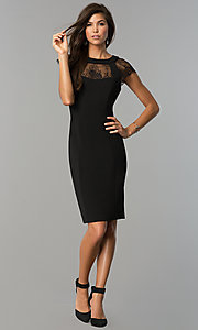Image of little-black knee-length party dress with cap sleeves. Style: SG-DBBY1138 Detail Image 1