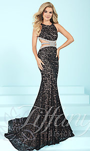 Long Lace Prom Dress by Tiffany with Cut-Outs