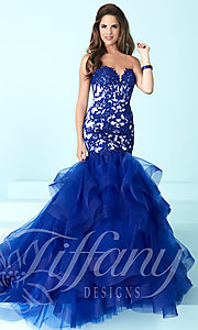 Long Strapless Prom Dress with Sweetheart Neckline and Lace Bodice