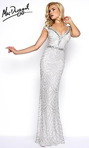 Beaded and Sequined V-Neck Prom Dress