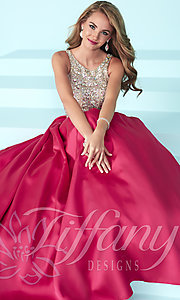 Long Prom Dress by Tiffany with Beaded Bodice and Open Back