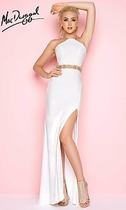 Long Open Back Prom Dress with a Sheer Waist