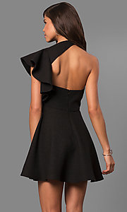 Image of short party dress with asymmetrical flutter sleeve. Style: LUX-LD3777 Back Image