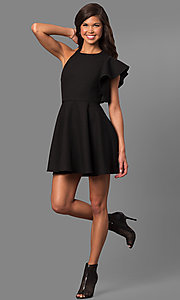Image of short party dress with asymmetrical flutter sleeve. Style: LUX-LD3777 Detail Image 1
