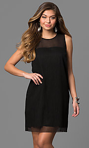 Image of short black party dress with sheer neckline. Style: BC-SVM62J55 Front Image