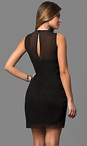 Image of short black party dress with sheer neckline. Style: BC-SVM62J55 Back Image