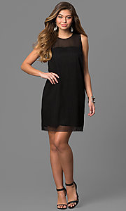 Image of short black party dress with sheer neckline. Style: BC-SVM62J55 Detail Image 1