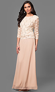 Image of 3/4 sleeve long lace v-back-bodice formal dress. Style: SF-8837 Detail Image 2