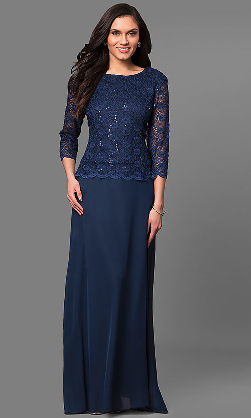 Image of 3/4 sleeve long lace v-back-bodice formal dress. Style: SF-8837 Front Image