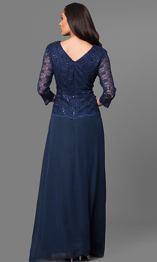 Image of 3/4 sleeve long lace v-back-bodice formal dress. Style: SF-8837 Back Image