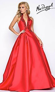 Long A-Line Halter V-Neck Prom Dress