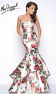 Long Layered Mermaid Style Floral Print Prom Dress