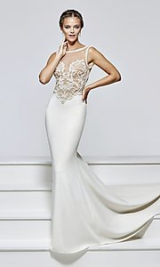 Long Prom Dress by Tarik Ediz with Illusion Pearl Embellished Bodice