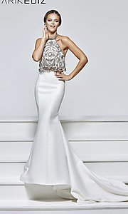 Long Two-Piece Prom Dress by Tarik Ediz with Embellished Halter Top