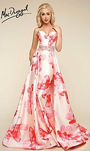 Long Peach Pink Print Strapless Prom Dress