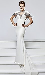 Long Prom Dress by Tarik Ediz with Open Back and Removable Cape