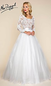 A-Line Scoop Neck Prom Dress with Long Sleeves