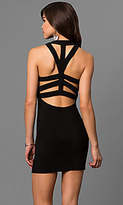 Image of short black party dress with open-back cut outs. Style: EM-EYS-1027-001 Back Image
