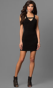 Image of short black party dress with open-back cut outs. Style: EM-EYS-1027-001 Detail Image 1