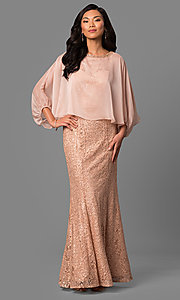 Long Lace Dress with Chiffon Cape