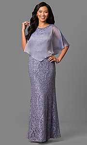 Periwinkle Blue Long Lace Mother-of-the-Bride Dress