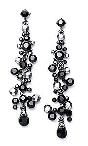 Black Crystal Waterfall Earrings