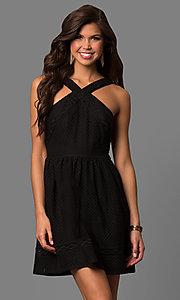 Short Black Lace Party Dress with High Racer Front