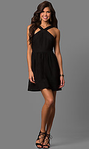Image of short black lace party dress with high racer front. Style: CT-6612QR6B Detail Image 1