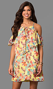 Chiffon Shift Cold-Shoulder Print Party Dress