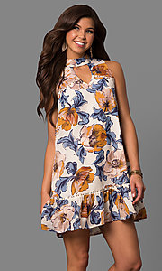 High Neck Short Shift Print Party Dress