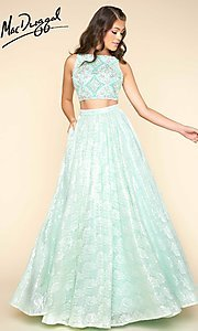 Long Two Piece Lace A-Line Prom Dress
