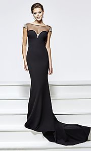 Long Prom with Cap Sleeves, Open Back, and Illusion Sweetheart Neckline