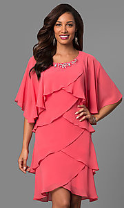 Short Sleeveless Flamigo Pink Mother-of-the-Bride Dress with Cape