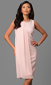 Short Sheath Party Dress with Drape and Jeweled Collar