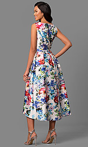 Image of floral-print high-low v-neck party dress in satin. Style: IT-113326 Back Image
