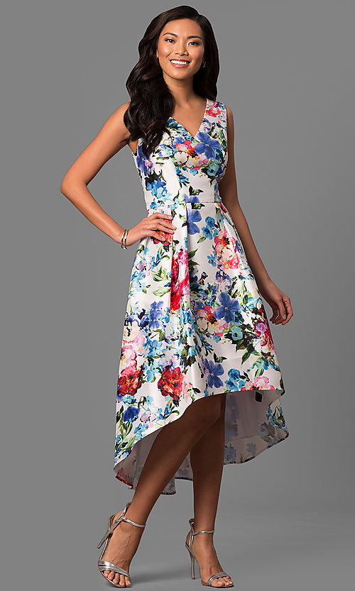 Image of floral-print high-low v-neck party dress in satin. Style: IT-113326 Front Image