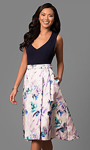 Short V-Neck Party Dress with Floral Print Skirt