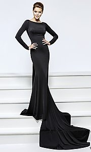 Long Prom Dress with Sleeves and Illusion Open Back by Tarik Ediz