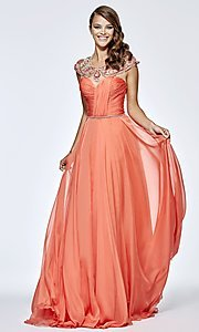 Long Prom Dress with Ruched Bodice and Jewel Accented Collar