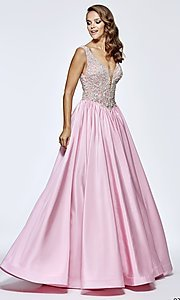Long Prom Dress with Beaded Bodice by Tarik Ediz