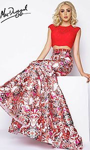 Long Red Print Two Piece Mermaid Prom Dress