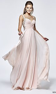 Long Prom Dress with Sweetheart Neckline and Pearl Accents