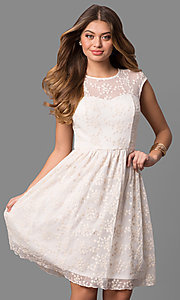 Ivory Embroided Mesh Graduation Short Dress