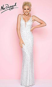 Long Sequin Sleeveless V-Neck Prom Dress