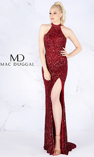 Long Garnet Red Sequin Sleeveless Prom Dress