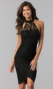 Short Semi-Formal Halter Party Dress in Lace
