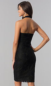 Image of short semi-formal halter party dress in lace. Style: MD-D14994BXL Back Image